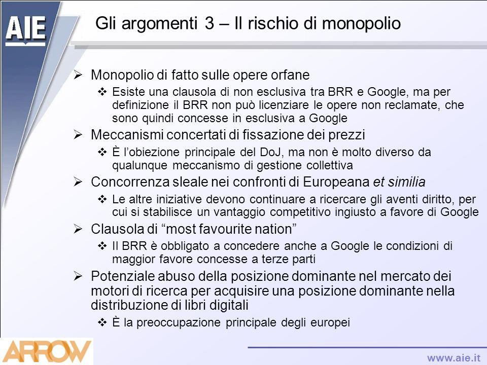 Gli argomenti 3 – Il rischio di monopolio