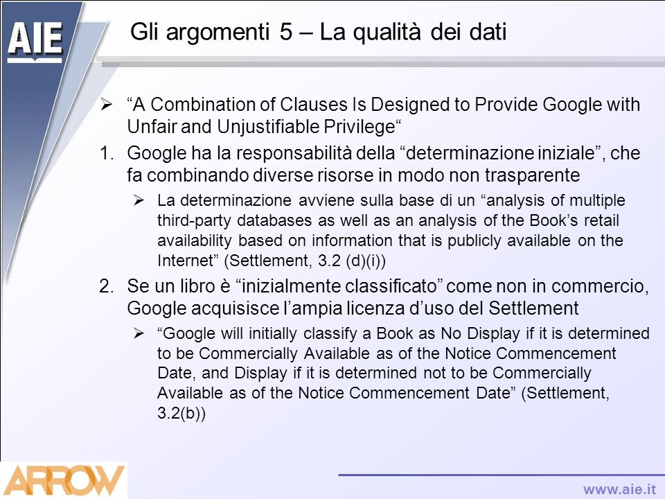 Gli argomenti 5 – La qualità dei dati