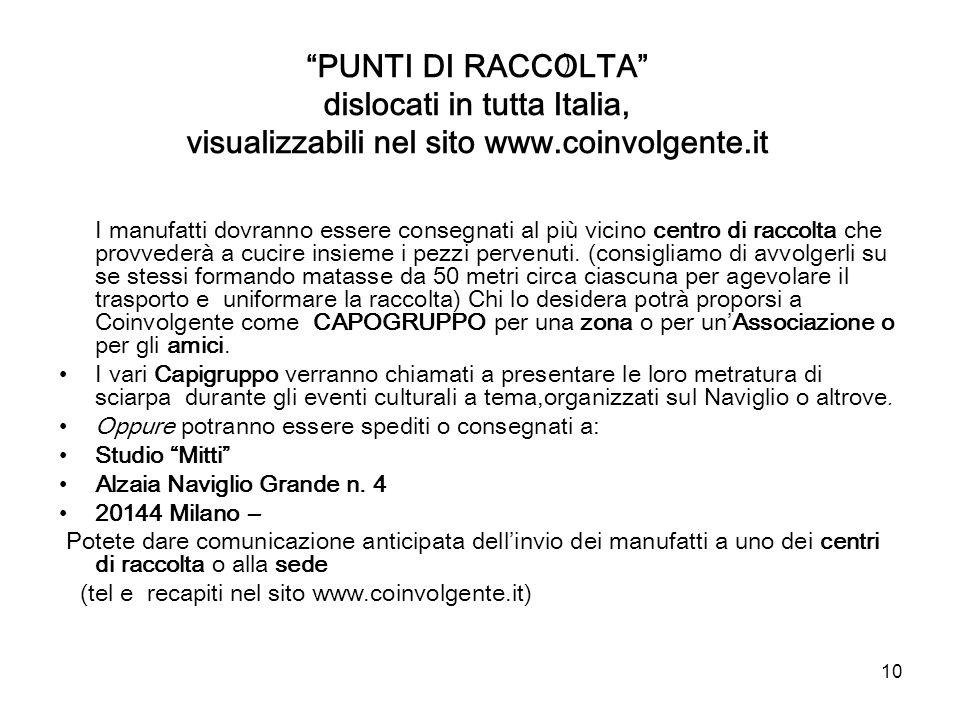PUNTI DI RACCOLTA dislocati in tutta Italia, visualizzabili nel sito www.coinvolgente.it
