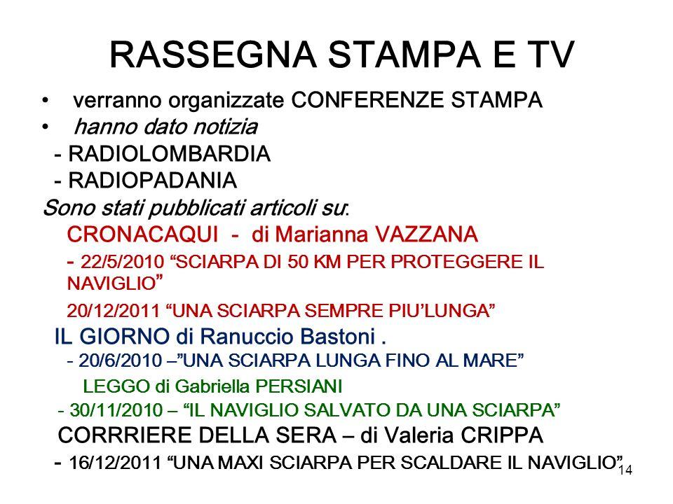 RASSEGNA STAMPA E TV verranno organizzate CONFERENZE STAMPA