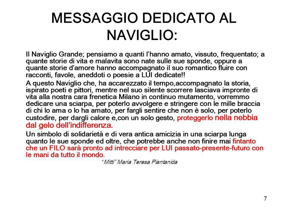 MESSAGGIO DEDICATO AL NAVIGLIO:
