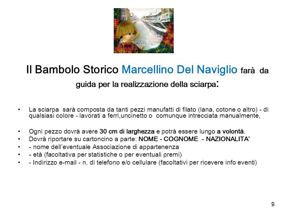 Il Bambolo Storico Marcellino Del Naviglio farà da guida per la realizzazione della sciarpa: