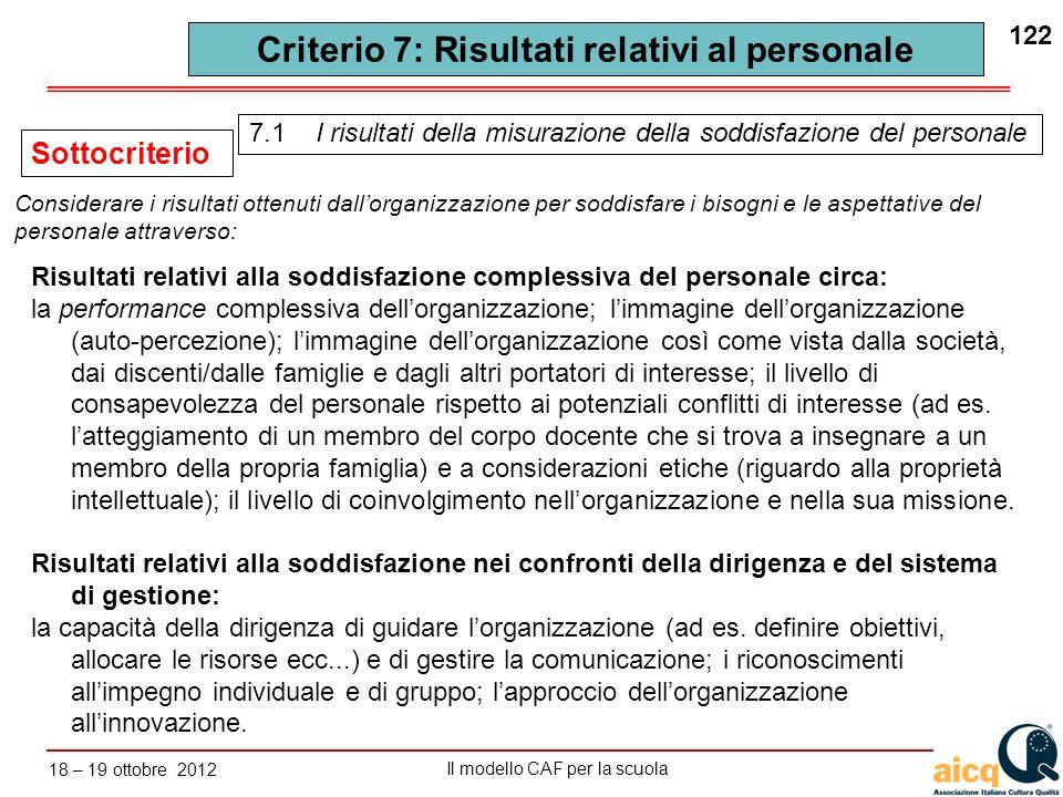 Criterio 7: Risultati relativi al personale