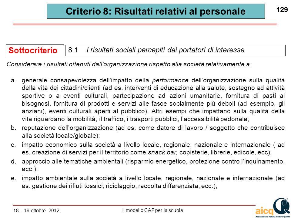 Criterio 8: Risultati relativi al personale