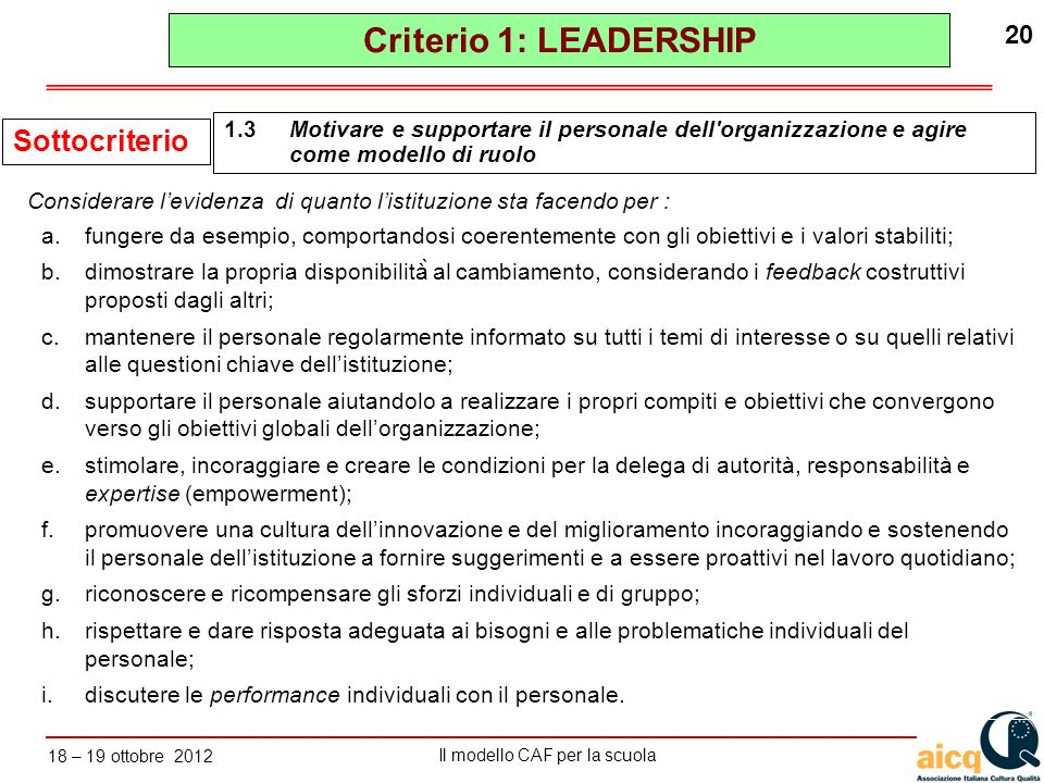 Criterio 1: LEADERSHIP Sottocriterio