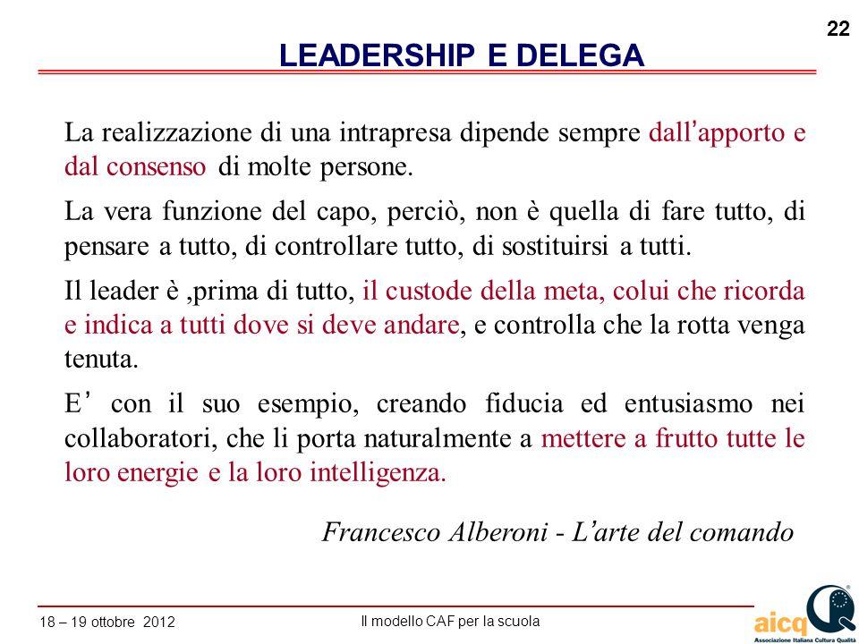 LEADERSHIP E DELEGA La realizzazione di una intrapresa dipende sempre dall'apporto e dal consenso di molte persone.