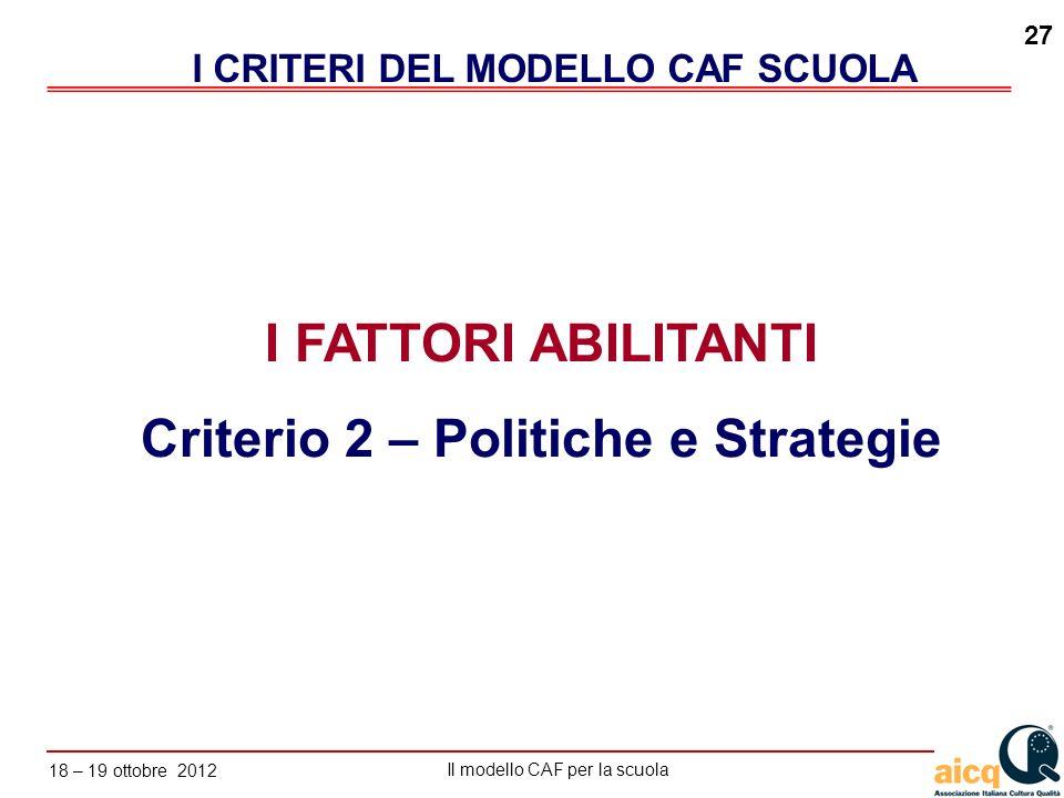 I CRITERI DEL MODELLO CAF SCUOLA Criterio 2 – Politiche e Strategie