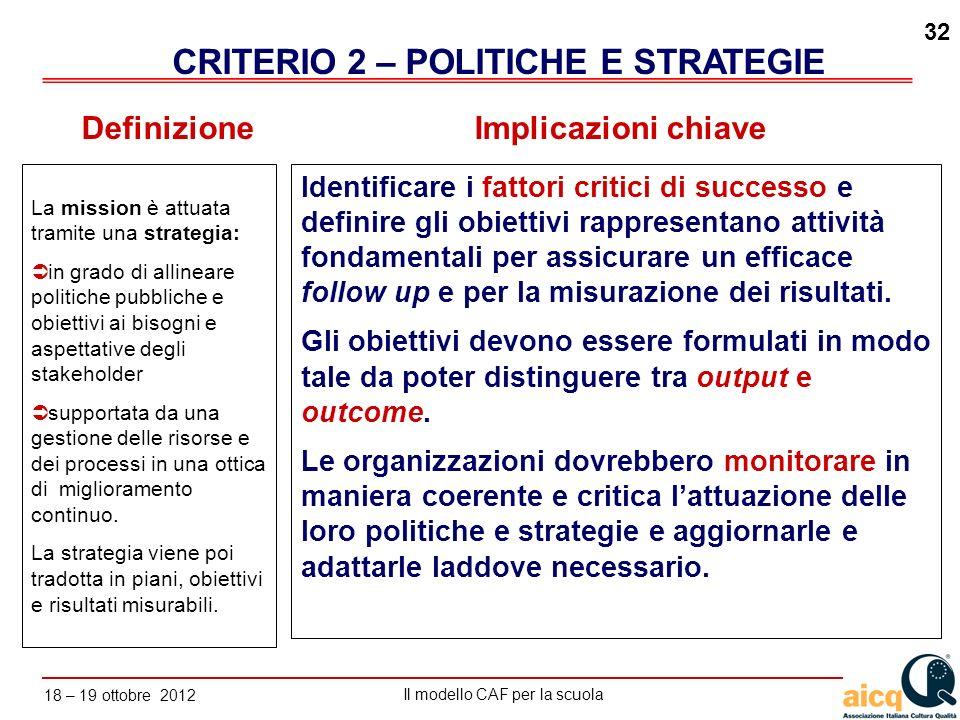 CRITERIO 2 – POLITICHE E STRATEGIE