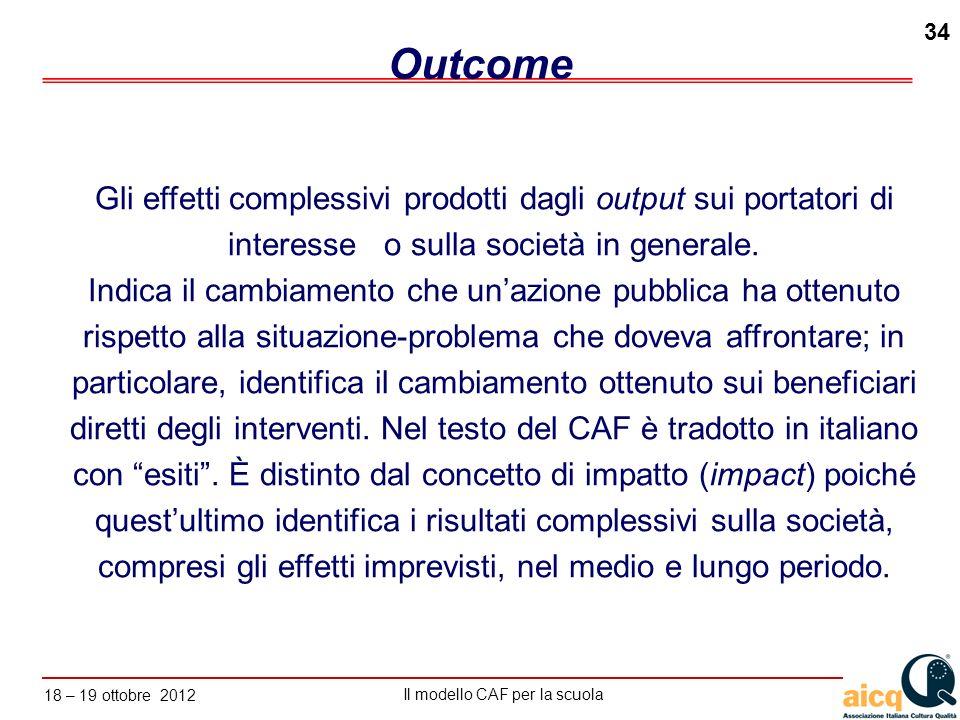 Outcome Gli effetti complessivi prodotti dagli output sui portatori di interesse o sulla società in generale.