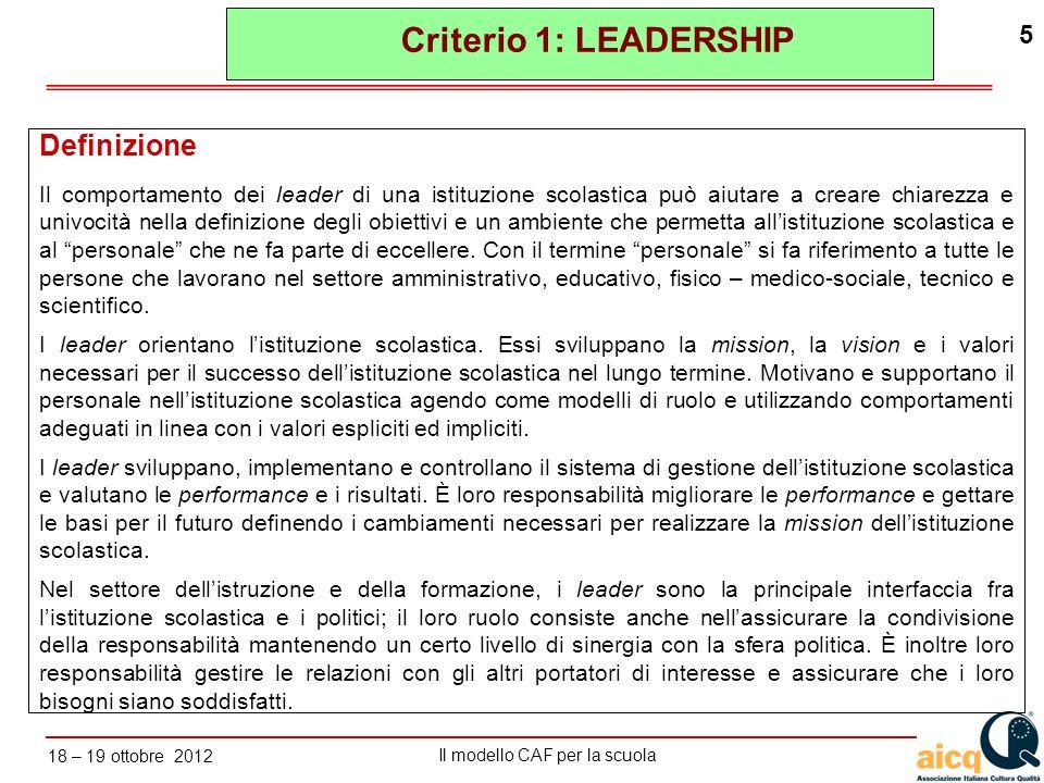 Criterio 1: LEADERSHIP Definizione
