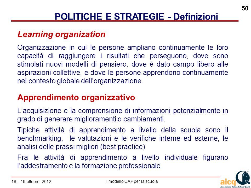 POLITICHE E STRATEGIE - Definizioni