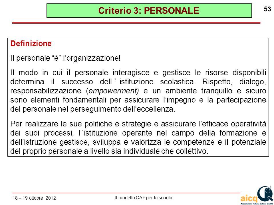 Criterio 3: PERSONALE Definizione Il personale è l'organizzazione!
