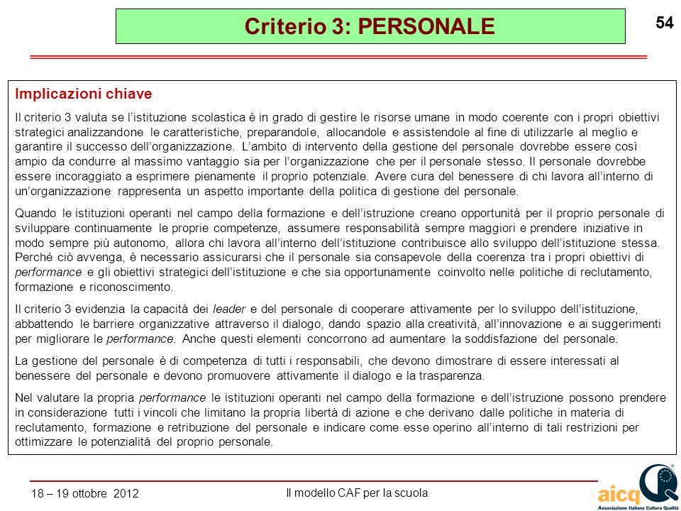 Criterio 3: PERSONALE Implicazioni chiave