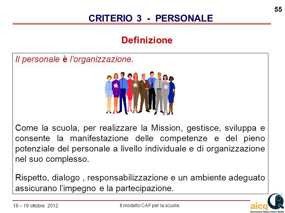 CRITERIO 3 - PERSONALE Definizione