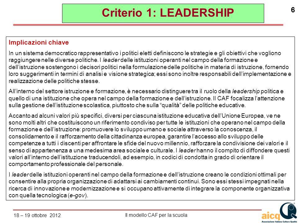 Criterio 1: LEADERSHIP Implicazioni chiave