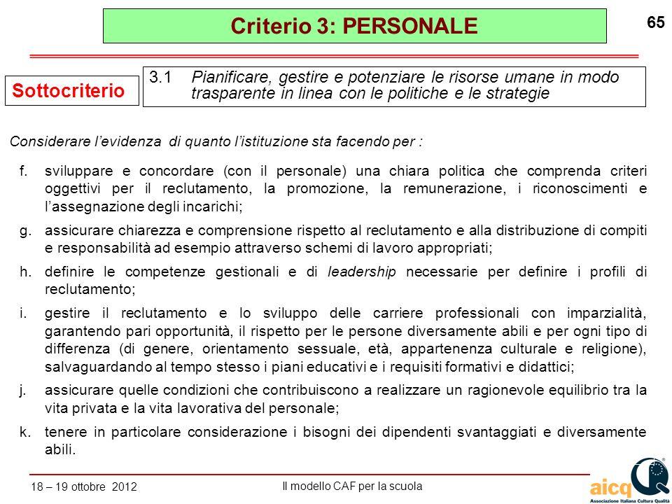 Criterio 3: PERSONALE Sottocriterio