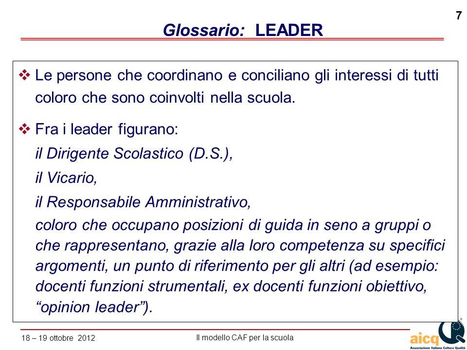 Glossario: LEADER Le persone che coordinano e conciliano gli interessi di tutti coloro che sono coinvolti nella scuola.
