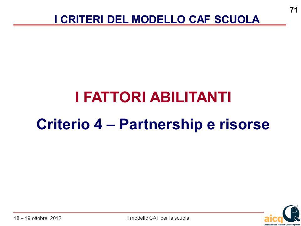 I CRITERI DEL MODELLO CAF SCUOLA Criterio 4 – Partnership e risorse