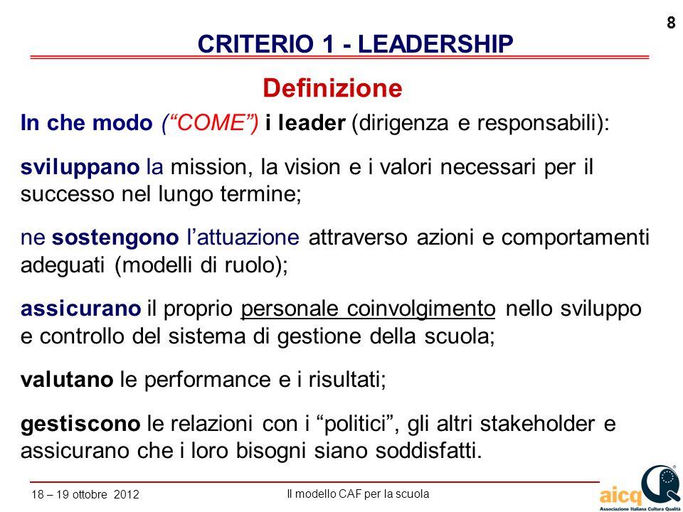 Definizione CRITERIO 1 - LEADERSHIP