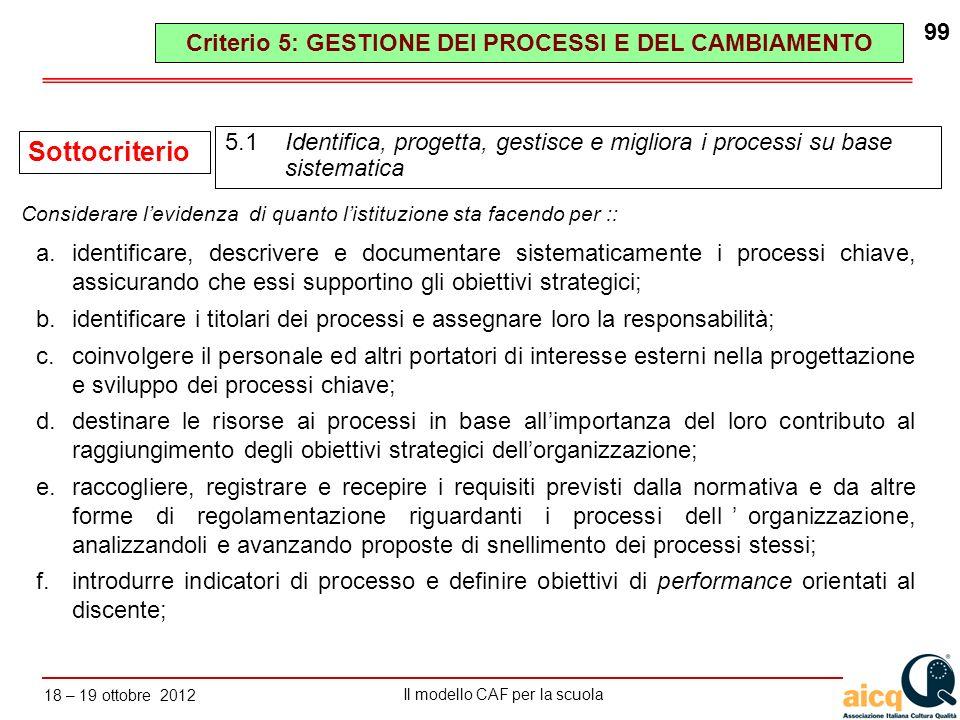 Criterio 5: GESTIONE DEI PROCESSI E DEL CAMBIAMENTO