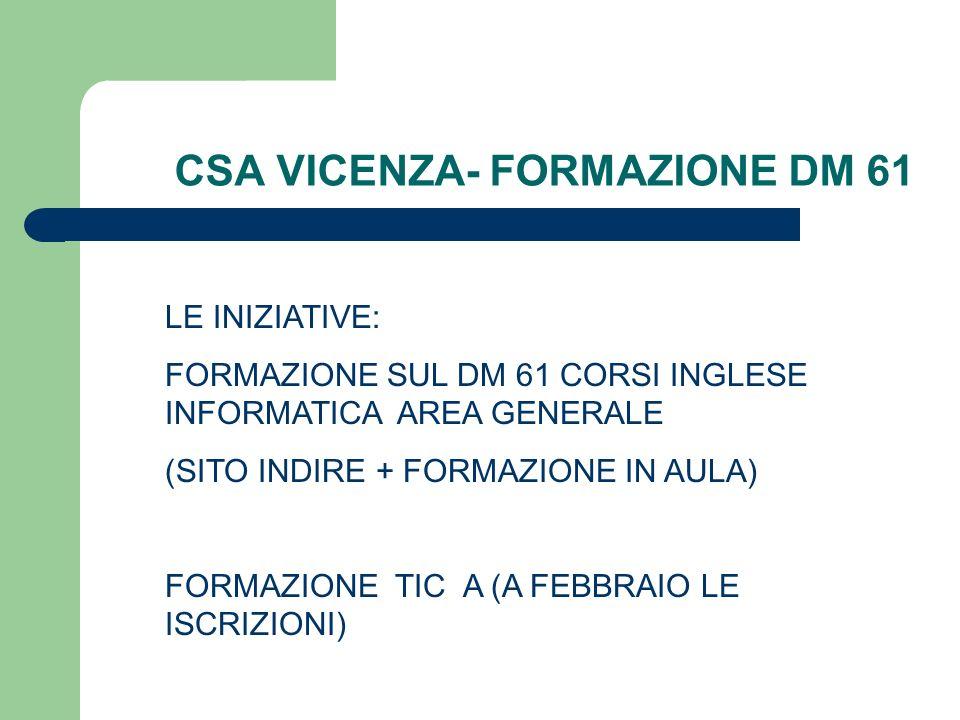 CSA VICENZA- FORMAZIONE DM 61
