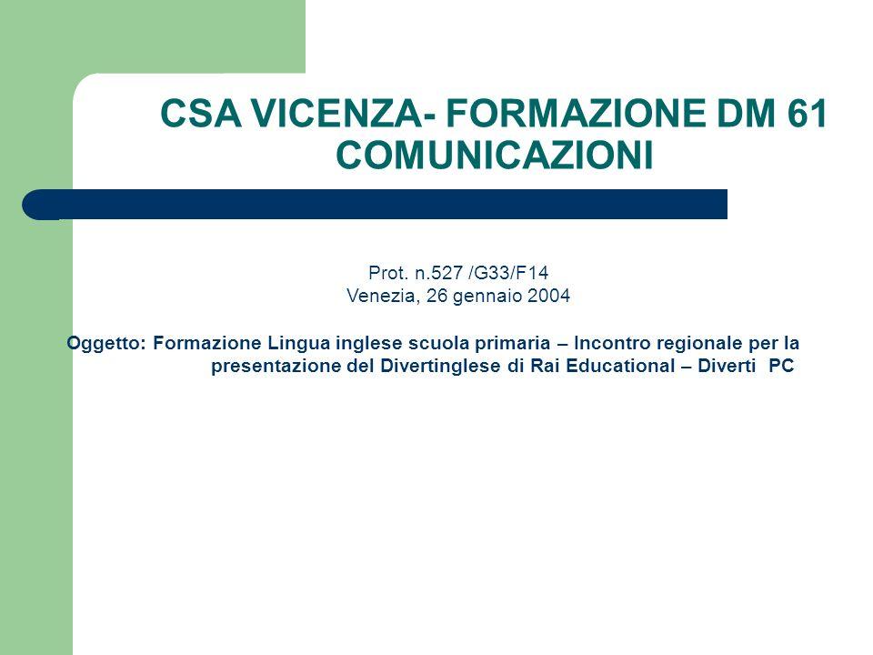 CSA VICENZA- FORMAZIONE DM 61 COMUNICAZIONI