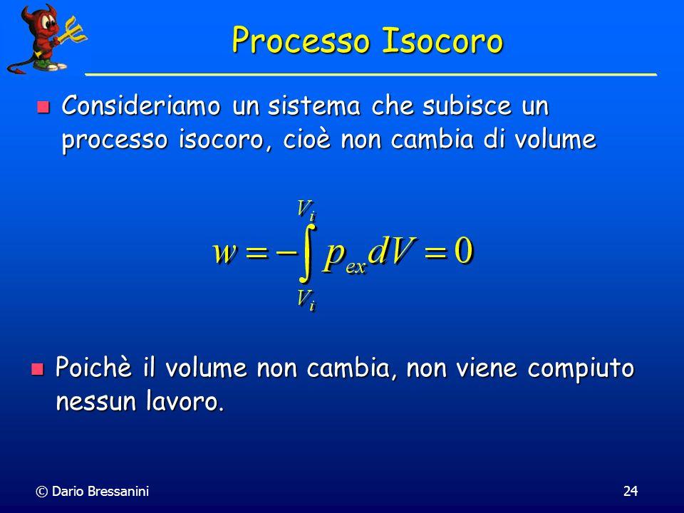 Processo Isocoro Consideriamo un sistema che subisce un processo isocoro, cioè non cambia di volume.