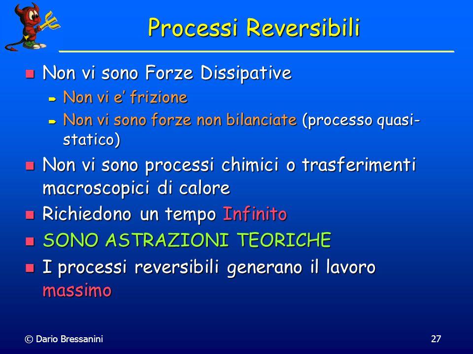 Processi Reversibili Non vi sono Forze Dissipative