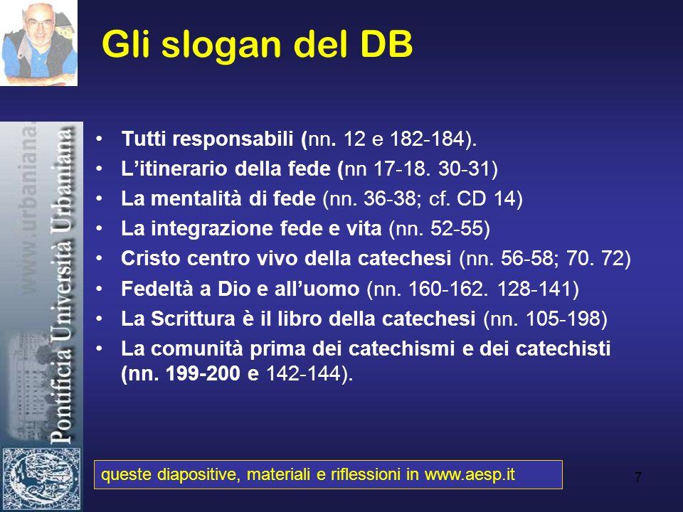 Gli slogan del DB Tutti responsabili (nn. 12 e 182-184).
