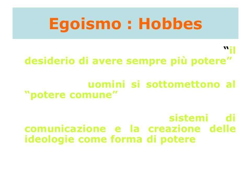Egoismo : Hobbes unica motivazione umana: il desiderio di avere sempre più potere