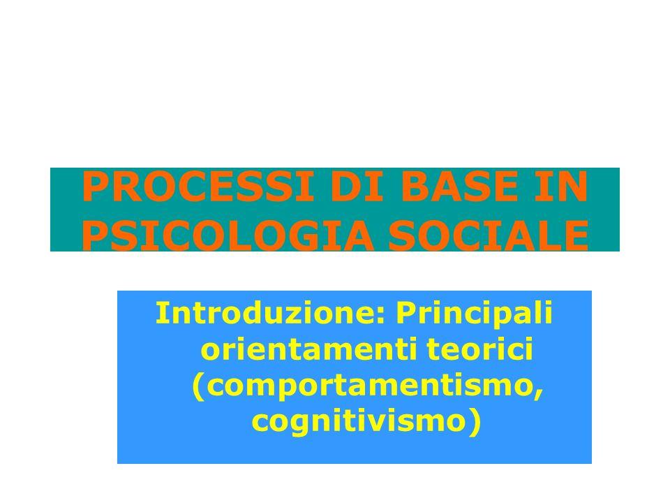 PROCESSI DI BASE IN PSICOLOGIA SOCIALE