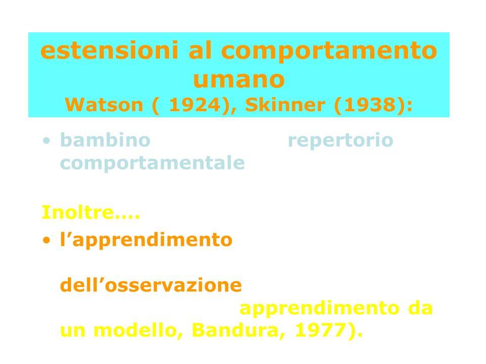 estensioni al comportamento umano Watson ( 1924), Skinner (1938):