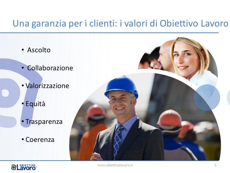 Una garanzia per i clienti: i valori di Obiettivo Lavoro