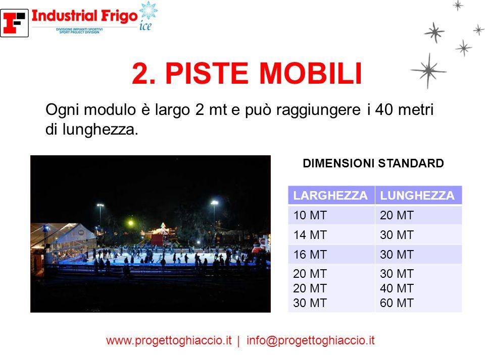 2. PISTE MOBILI Ogni modulo è largo 2 mt e può raggiungere i 40 metri di lunghezza. DIMENSIONI STANDARD.