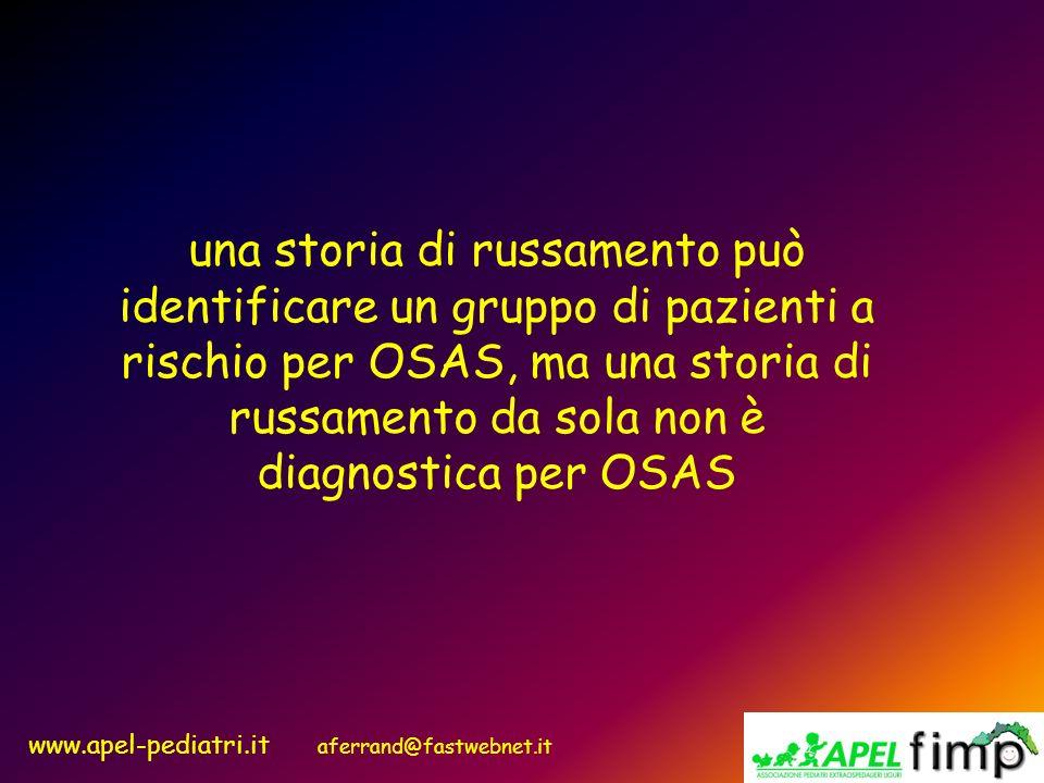una storia di russamento può identificare un gruppo di pazienti a rischio per OSAS, ma una storia di russamento da sola non è diagnostica per OSAS