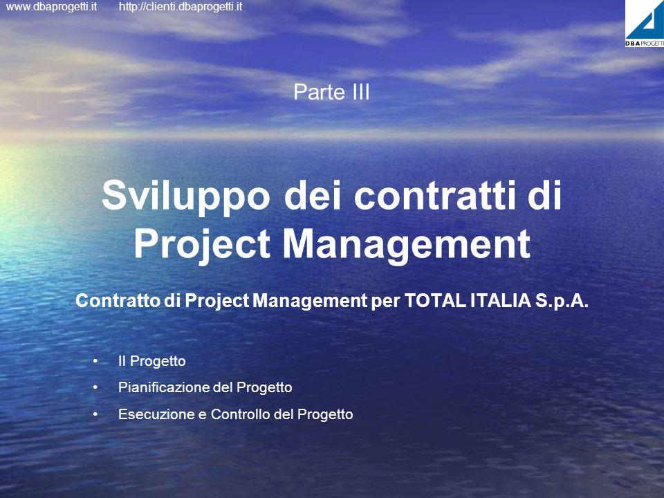 Parte III Sviluppo dei contratti di Project Management Contratto di Project Management per TOTAL ITALIA S.p.A.