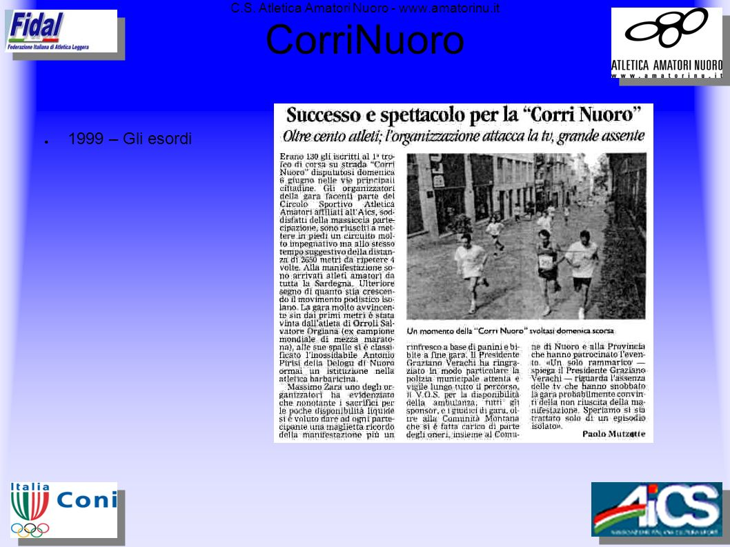 C.S. Atletica Amatori Nuoro - www.amatorinu.it CorriNuoro