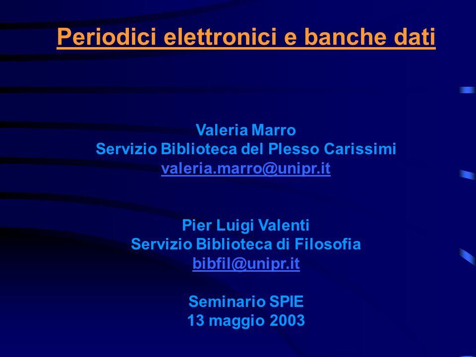 Periodici elettronici e banche dati