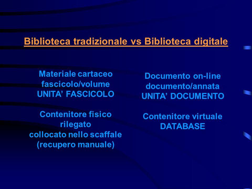 Biblioteca tradizionale vs Biblioteca digitale