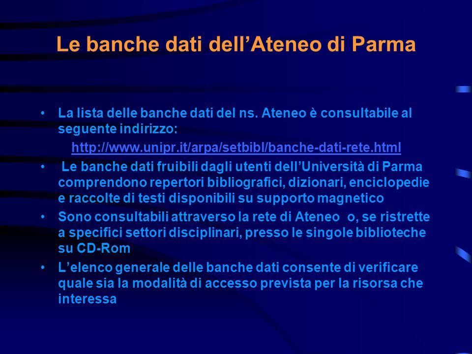Le banche dati dell'Ateneo di Parma