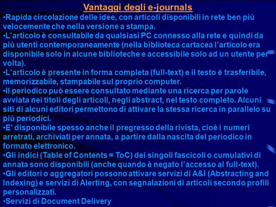 Vantaggi degli e-journals