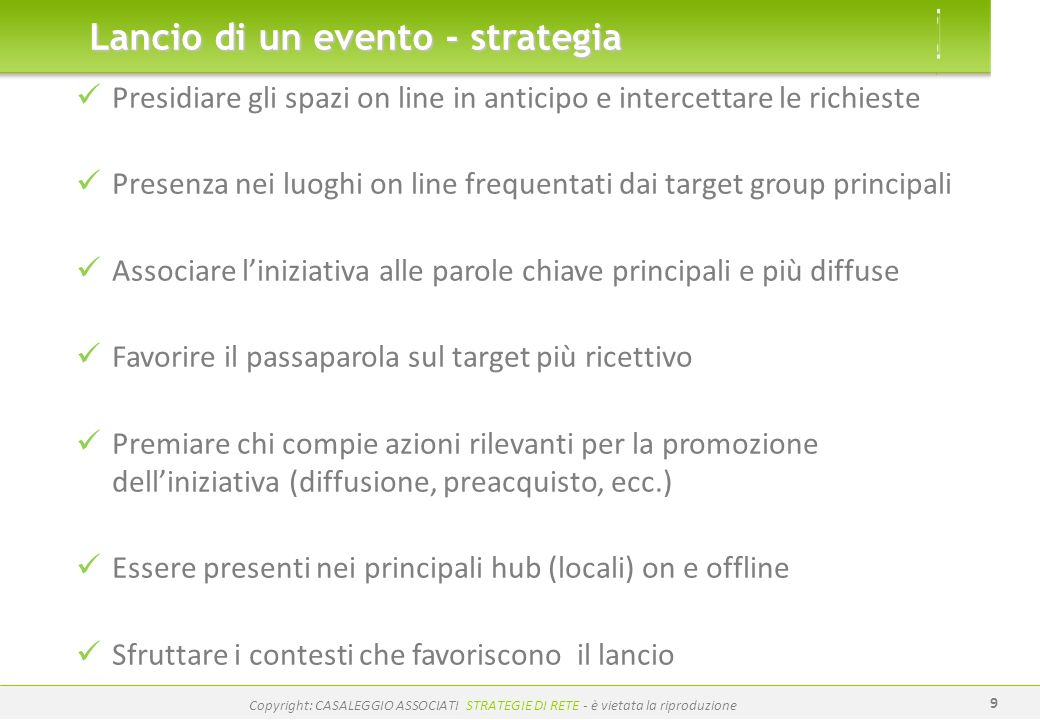 Lancio di un evento - strategia