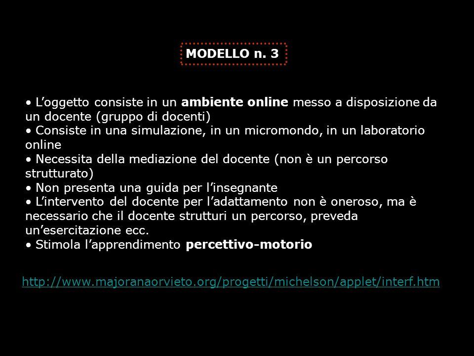 MODELLO n. 3 L'oggetto consiste in un ambiente online messo a disposizione da un docente (gruppo di docenti)