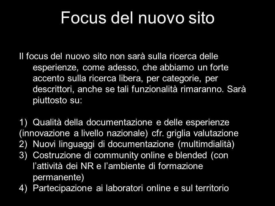 Focus del nuovo sito