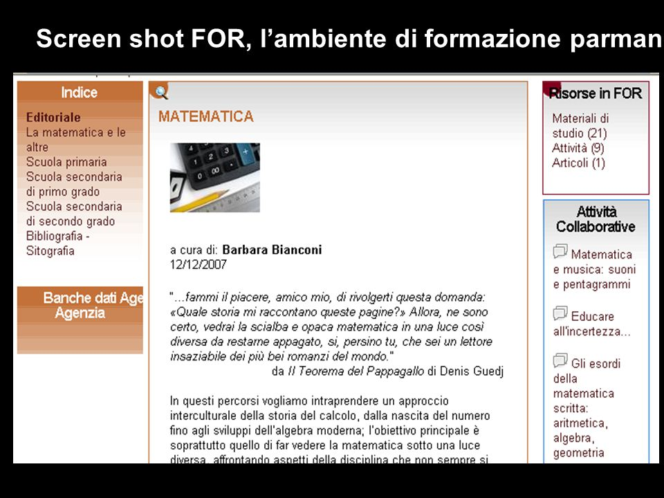 Screen shot FOR, l'ambiente di formazione parmanente