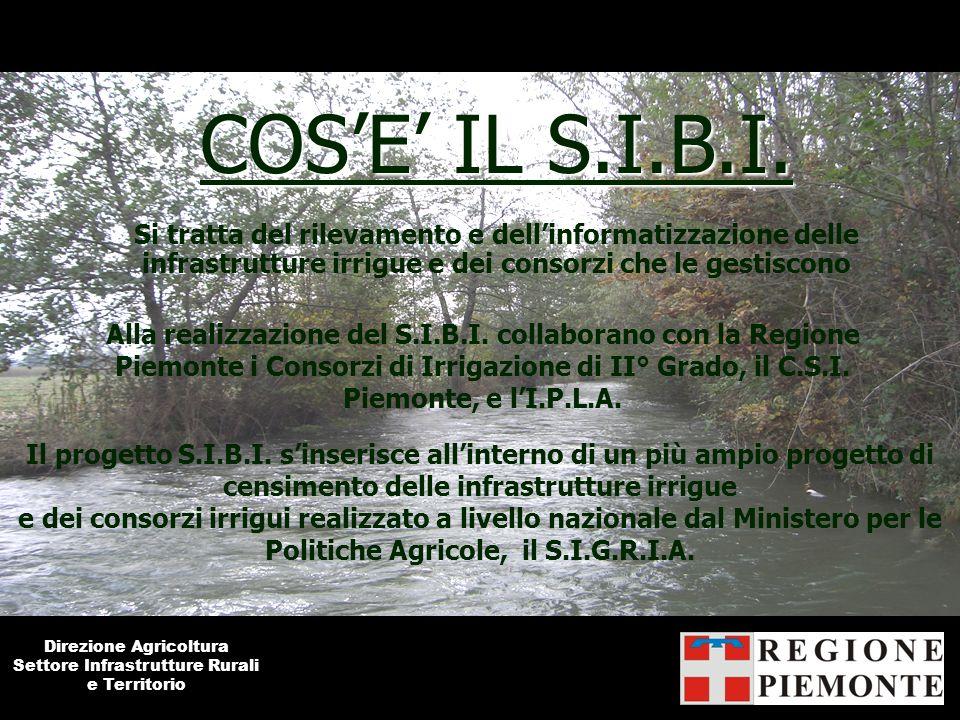 COS'E' IL S.I.B.I. Si tratta del rilevamento e dell'informatizzazione delle infrastrutture irrigue e dei consorzi che le gestiscono.
