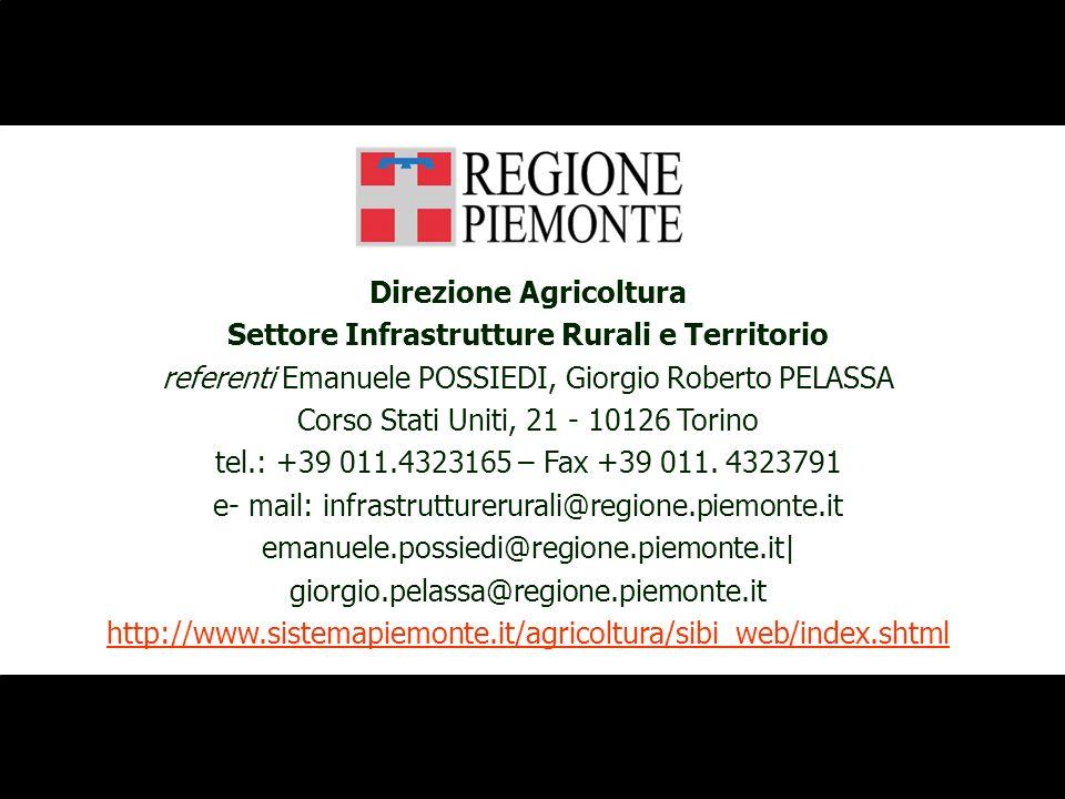 Direzione Agricoltura Settore Infrastrutture Rurali e Territorio