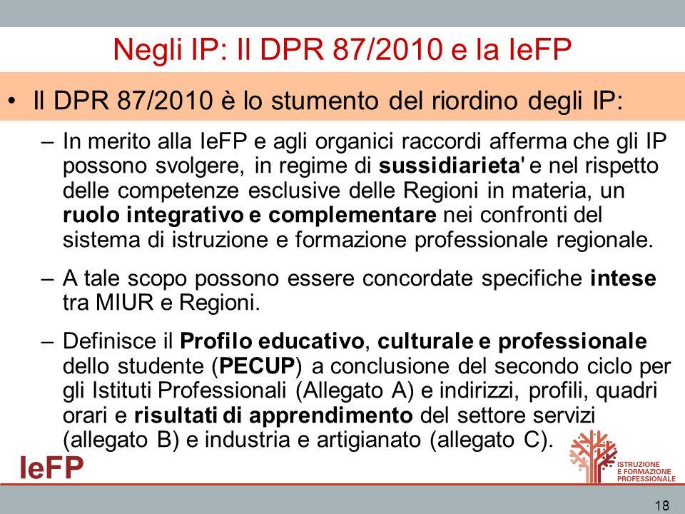Negli IP: Il DPR 87/2010 e la IeFP