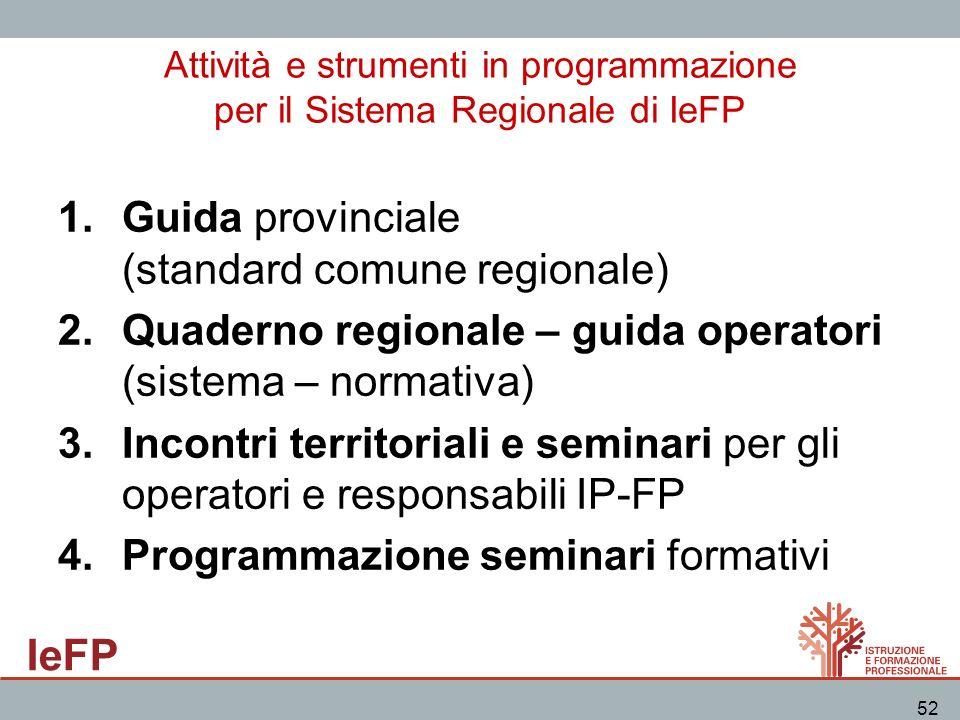 Guida provinciale (standard comune regionale)