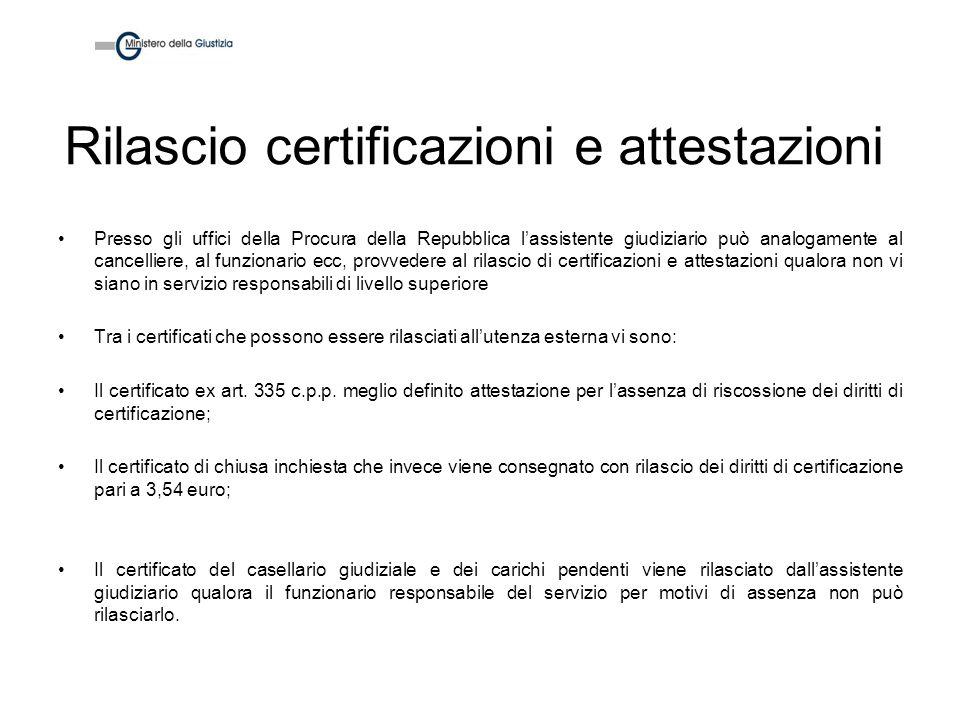 Rilascio certificazioni e attestazioni